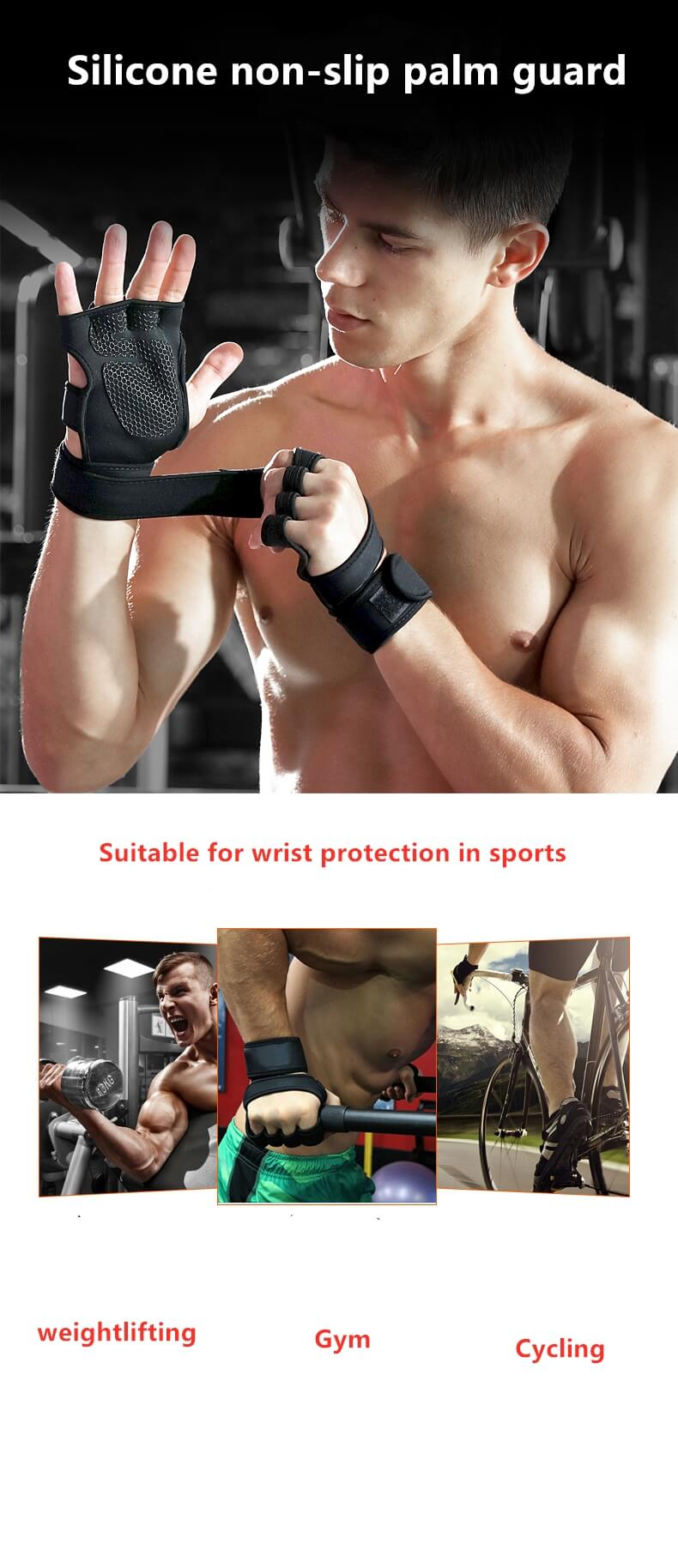 Fitness Workout Weight Lifting Fit Palm Support Protector Non-slip Gloves