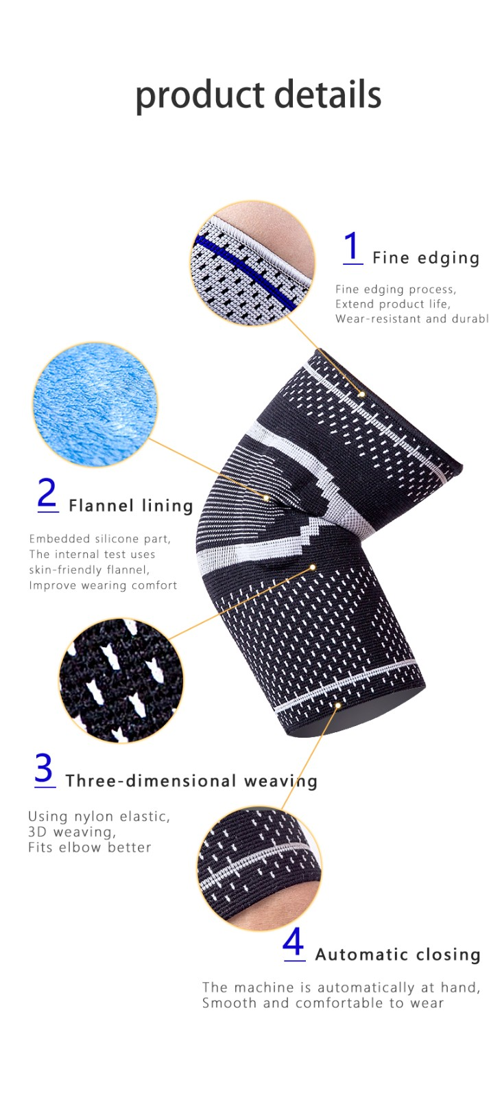 Elastic silicone elbow and knee brace support belt